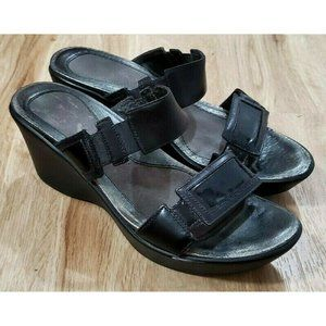 Naot Womens Treasure Black Wedge Slide Sandals 38
